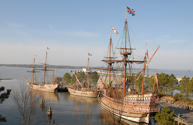 These small craft (replicas) brought the early settlers to Jamestown