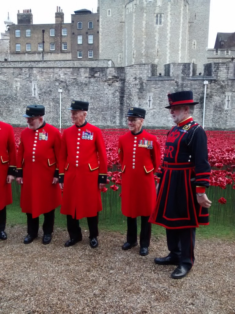 Honoured guests Tower of London Chelsea Pensioners and their Beefeater guide