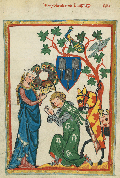 Konrad von Limpurg as a knight being armed by his lady in the Codex Manesse (early 14th century)